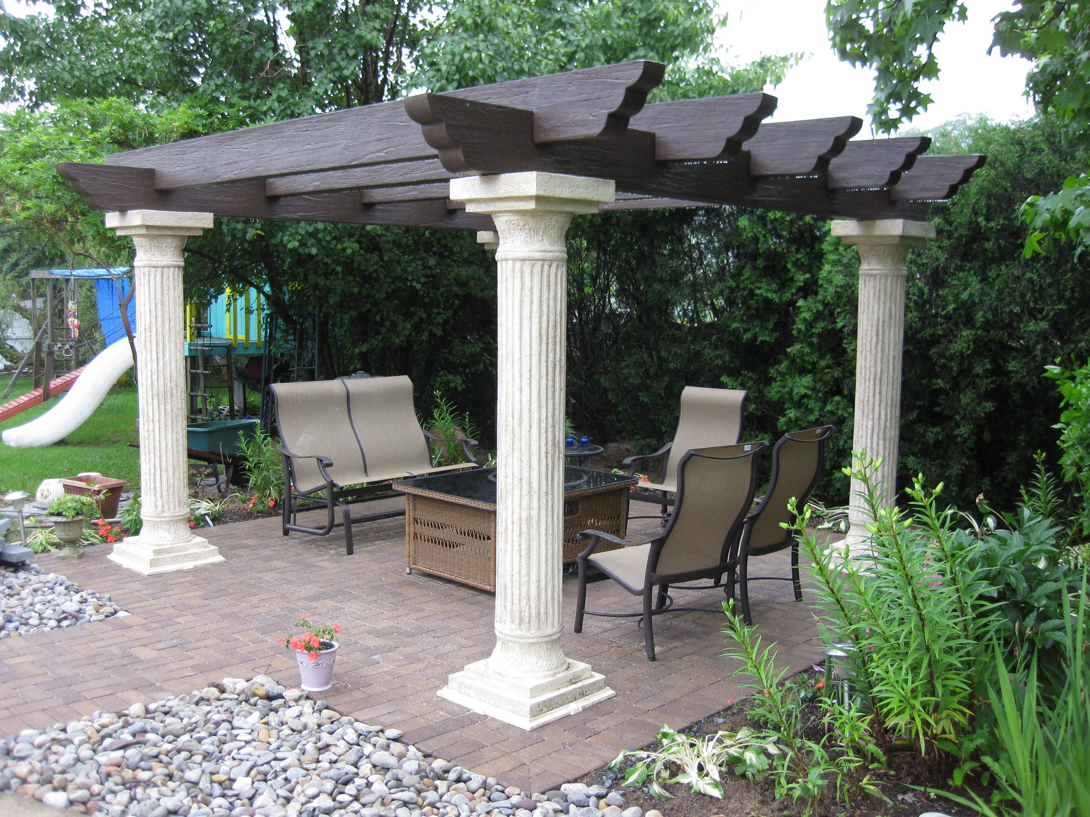New Back Patio with Pergola Nickett Landscaping
